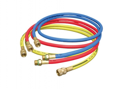 """Charging Hoses (R134a) 1/2"""" acme x 1/2"""" acme (yellow), 1/2"""" acme x 14mm (blue & red)"""